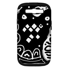 Black and white high art abstraction Samsung Galaxy S III Hardshell Case (PC+Silicone)