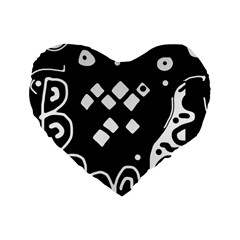 Black and white high art abstraction Standard 16  Premium Heart Shape Cushions