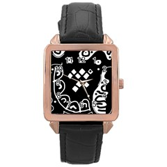 Black and white high art abstraction Rose Gold Leather Watch
