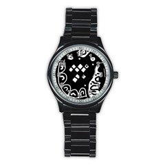 Black and white high art abstraction Stainless Steel Round Watch