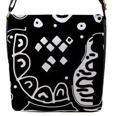 Black and white high art abstraction Flap Messenger Bag (S)