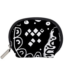 Black and white high art abstraction Accessory Pouches (Small)