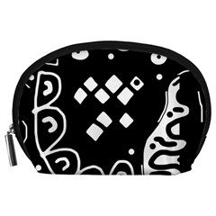 Black and white high art abstraction Accessory Pouches (Large)
