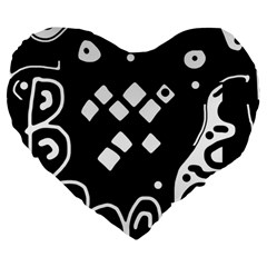 Black and white high art abstraction Large 19  Premium Flano Heart Shape Cushions