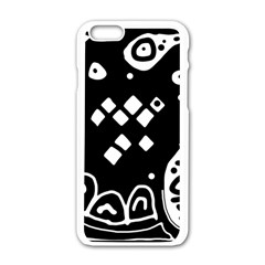 Black and white high art abstraction Apple iPhone 6/6S White Enamel Case