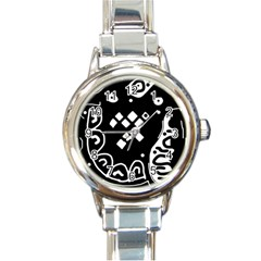 Black and white high art abstraction Round Italian Charm Watch