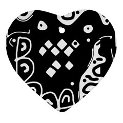Black and white high art abstraction Ornament (Heart)