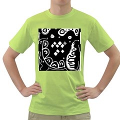 Black and white high art abstraction Green T-Shirt