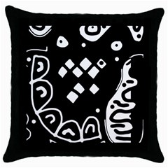 Black and white high art abstraction Throw Pillow Case (Black)
