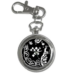 Black and white high art abstraction Key Chain Watches