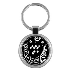 Black and white high art abstraction Key Chains (Round)