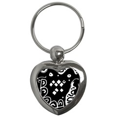 Black and white high art abstraction Key Chains (Heart)
