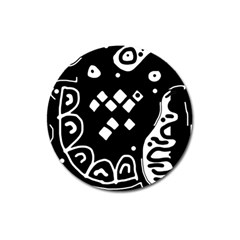 Black and white high art abstraction Magnet 3  (Round)