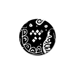 Black and white high art abstraction Golf Ball Marker
