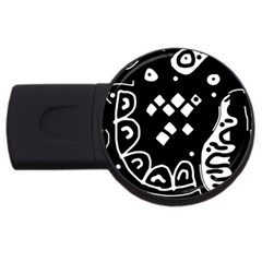 Black and white high art abstraction USB Flash Drive Round (2 GB)