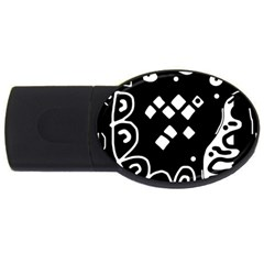 Black and white high art abstraction USB Flash Drive Oval (1 GB)