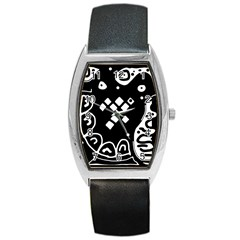 Black and white high art abstraction Barrel Style Metal Watch