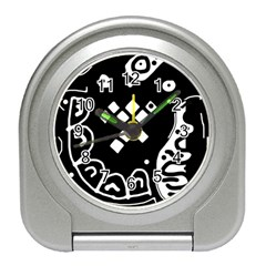Black and white high art abstraction Travel Alarm Clocks