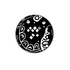 Black and white high art abstraction Hat Clip Ball Marker (4 pack)