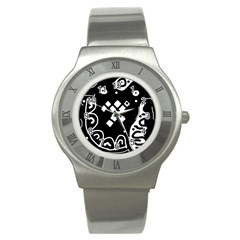 Black and white high art abstraction Stainless Steel Watch
