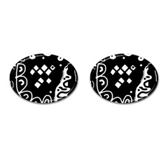 Black and white high art abstraction Cufflinks (Oval)
