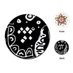 Black and white high art abstraction Playing Cards (Round)
