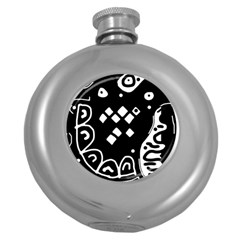 Black and white high art abstraction Round Hip Flask (5 oz)