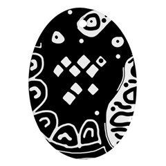 Black and white high art abstraction Oval Ornament (Two Sides)