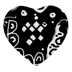 Black and white high art abstraction Heart Ornament (2 Sides)