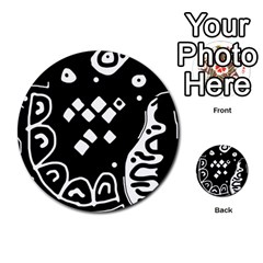 Black and white high art abstraction Multi-purpose Cards (Round)