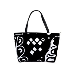 Black and white high art abstraction Shoulder Handbags