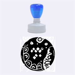 Black and white high art abstraction Rubber Round Stamps (Medium)