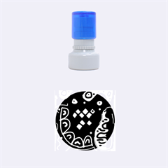 Black and white high art abstraction Rubber Round Stamps (Small)