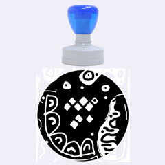 Black and white high art abstraction Rubber Round Stamps (Large)