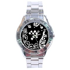 Black and white high art abstraction Stainless Steel Analogue Watch