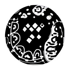 Black and white high art abstraction Ornament (Round Filigree)