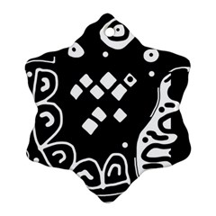 Black and white high art abstraction Snowflake Ornament (2-Side)