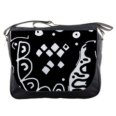Black and white high art abstraction Messenger Bags