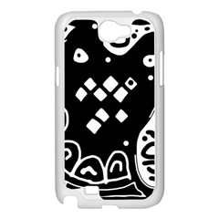 Black and white high art abstraction Samsung Galaxy Note 2 Case (White)