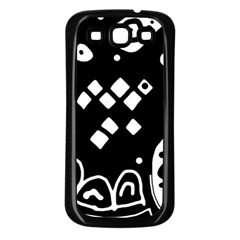 Black and white high art abstraction Samsung Galaxy S3 Back Case (Black)