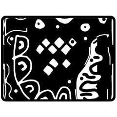 Black and white high art abstraction Double Sided Fleece Blanket (Large)