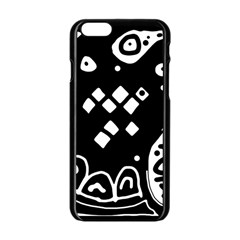 Black and white high art abstraction Apple iPhone 6/6S Black Enamel Case
