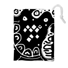 Black and white high art abstraction Drawstring Pouches (Extra Large)
