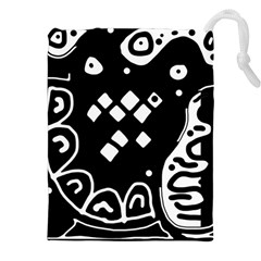 Black and white high art abstraction Drawstring Pouches (XXL)