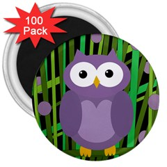 Purple owl 3  Magnets (100 pack)