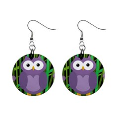 Purple owl Mini Button Earrings