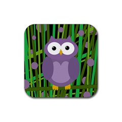 Purple owl Rubber Square Coaster (4 pack)