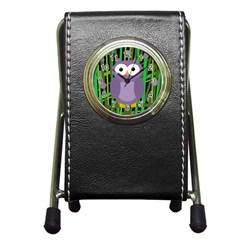 Purple owl Pen Holder Desk Clocks