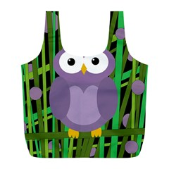 Purple owl Full Print Recycle Bags (L)