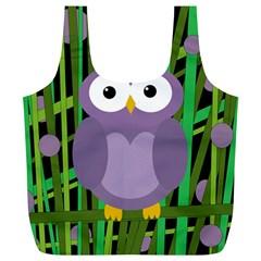 Purple owl Full Print Recycle Bags (L)